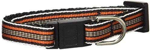Mirage Pet Products Preppy Stripes Nylon Ribbon Cat Safety Collars, Orange/Khaki