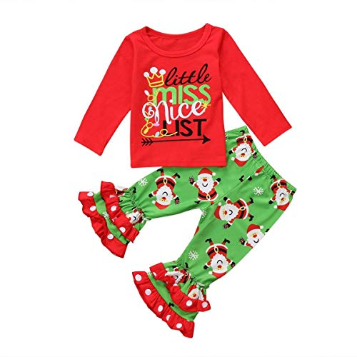 Treafor Baby Toddler Girl Christmas Outfit Set Santa Printed Ruffle Pants + Letter Printed Red T-Shirt (3-4Y, Green) -