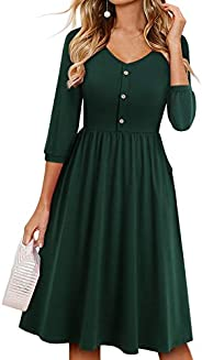 YATHON Summer Dresses for Women with Sleeves Cotton V Neck Button Down A Line Casual Dress Pockets