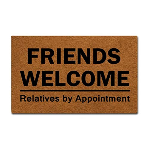(J&L House Vintage Entrance Doormats Non Slip Funny Friends Welcome, Relatives by Appointment Home Decoration Door Mat Indoor Outdoor Kitchen MachineWashable Rugs Multi-Functional Mats,18 x 30 Inch)