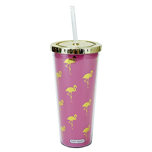Mary Square 6681 Flamingo Pink Solid 24 oz Straw Tumbler