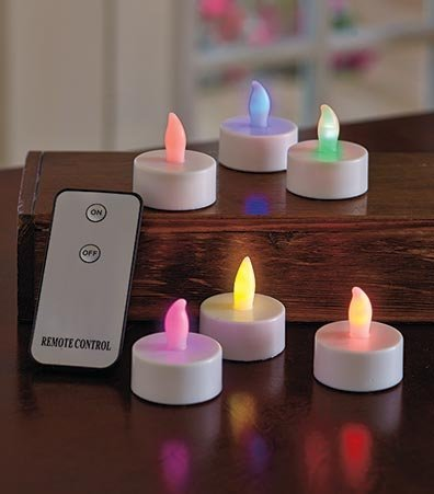 OKSLO Sets of 6 Remote Control Tea Light Candles Color-Changing