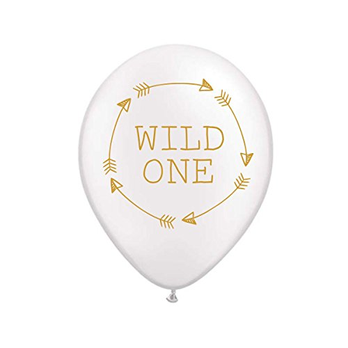 Wild One Balloon, White Wild One Balloons with Arrows, First Birthday Party Balloons, Baby Shower Decorations, Birthday Party Balloons, Wild One Birthday Party Decor, Set of 3 by White Rabbits Design