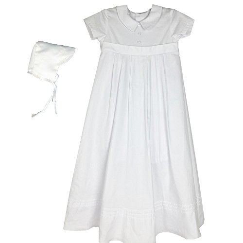 Baby Boys Christening Gowns With hat 100% Cotton White Newborn to 1 Year 1513 (6-12 month)