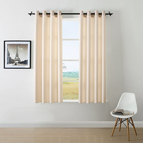 DWCN Beige Curtains Faux Linen Room Darkening curtains for Bedroom Living Room Country Modern Style Draperies Window Curtain Panel 8 Grommets 52x63 inch (set of 2 (Modern Curtain Panels)