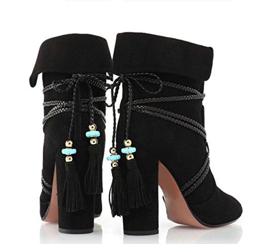 LINYI Frauen Stiefeletten Samt Lederband Quasten Handgemachte Bankett High Heels Black
