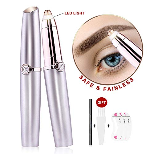 Eyebrow Hair Remover, Painless Eyebrow Razor Electric Eyebrow Trimmer Portable Facial Shaver with Light, Epilator for Women, Rose Gold