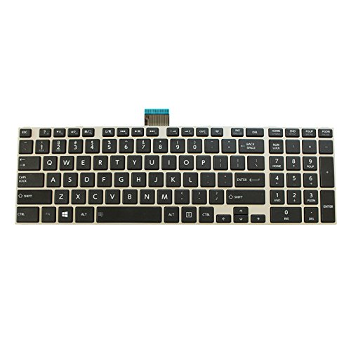 Replacement Keyboard for Toshiba Satellite L75 L75D L75-A L75D-A L75t L75t-A L75-B L75D-B L75t-B Laptop Black Keys Silver Frame (Key Replacement Toshiba)