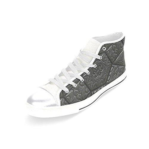 D-etasjers Custom Vintage Flis Kunst Kvinners Klassiske Høy Topp Lerret Sko Mote Sneaker