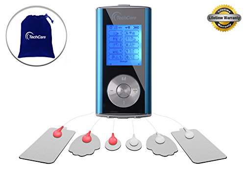 TechCare Mini Massager Tens Unit Tens Machine for Drug Free Pain Management, Back Pain and Rehabilitation (Blue)