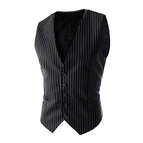 Le Un À La S'habillant De Schwarz L'homme Rayures Avec Mode Croisé Gilet Vintage 1wg1O