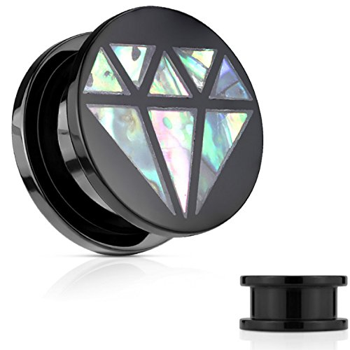 Pair of Abalone Inlay Diamond-Shape Ear Plugs Screw-Fit Gauges (All Black Acrylic) (1/2 Inch (12mm))