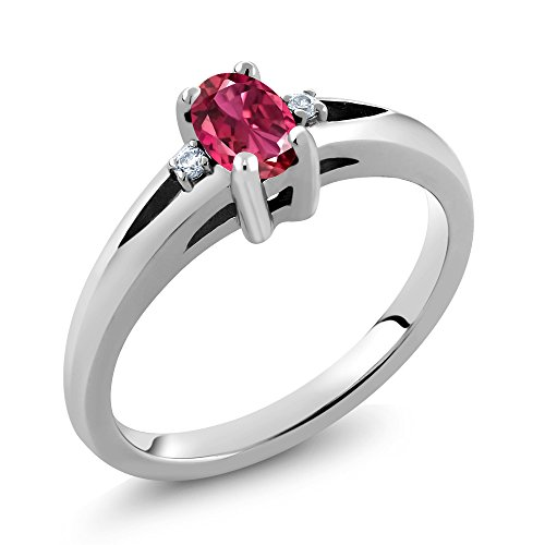 Gem Stone King 0.41 Ct Oval Pink Tourmaline White Diamond 925 Sterling Silver Ring (Size 9) ()
