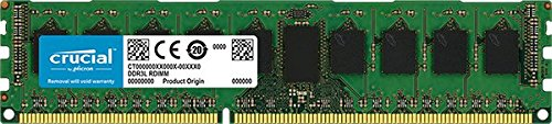 (Crucial 8GB Single DDR3/DDR3L 1600 MT/s (PC3-12800) DR x8 ECC UDIMM 240-Pin Memory - CT102472BD160B)