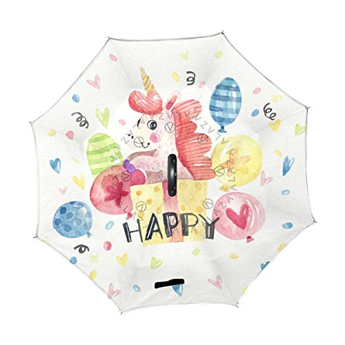 Double Layer Inverted Unicorn In The Box Cute Color Balloons Heart Pattern Umbrella,Reverse Umbrella Windproof UV Protection Large Upside Down Straight Umbrella with C-Shaped Handle 201114