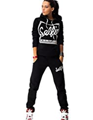 Jubileens Women's 2PCS Long Sleeve Hooded Sweatshirt and Pants Tracksuit Outfits