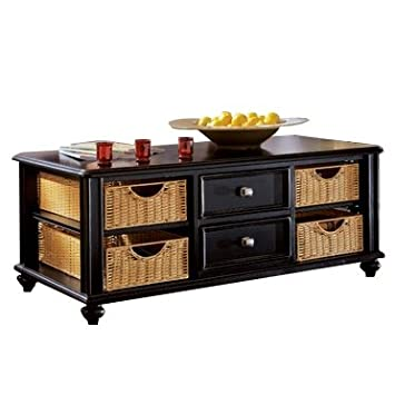 Amazoncom American Drew Camden Black Coffee Table with Wicker