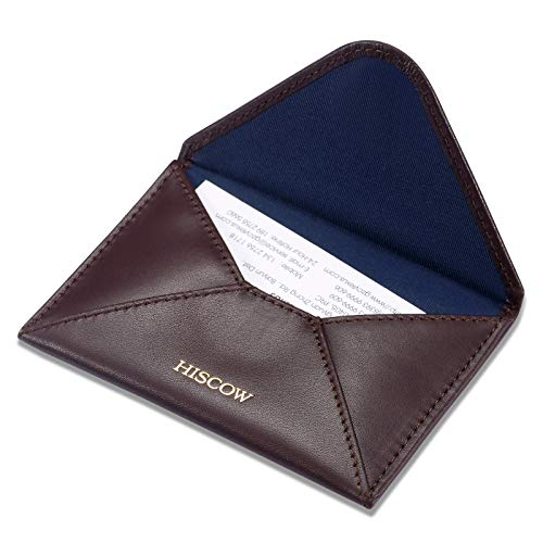HISCOW Envelope Business Card Case with Magnet Closure - Italian Calfskin (Coffee)
