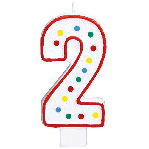 #2  Polka Dots Birthday Candle | Multicolor | Party Supply -