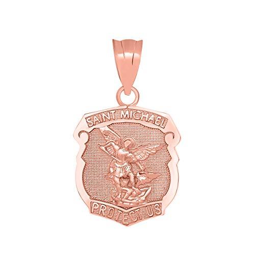 Solid 14k Rose Gold Saint Michael Shield Medal Protection Charm Pendant