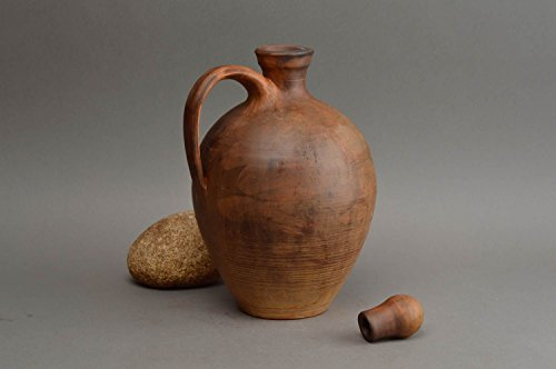 Handmade Red Clay Jug For Beverages Kitchen Pottery Ceramic Pitcher For Water