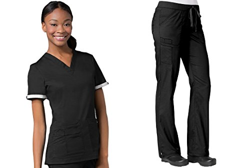Maevn PrimaFlex Inner Beauty V-Neck Top & Straight Leg Pant Scrub Set (Medium, Black) ()