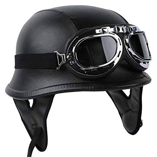Half Helmet Black Dot Adult German Style added leather protection with goggles (XL)