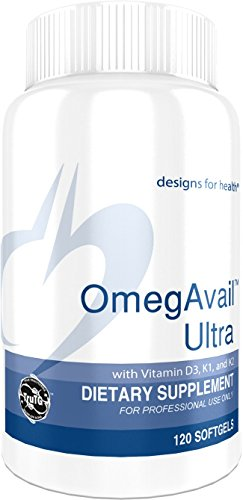 Designs for Health 1200mg TG Fish Oil with Vitamin D3, K1 & K2 - Omega 3 Fish Oil, OmegAvail Ultra (120 Softgels)