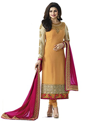 Ready Made Yellow Georgette Embroidered Long Churidar Straight Cut Salwar Suit (Customize Stitched)