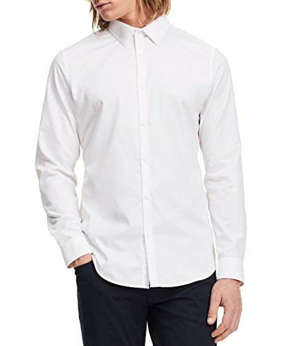 Calvin Klein Men's Slim Fit Solid Long Sleeve Non-Iron Button Down Shirt, White, Large