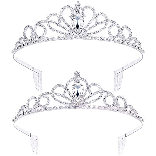 Cheap Tiara Crowns (2 Pack Tiara Crown Jewelry Gift for Women Girls,Headband Headpiece Silver Crystal Rhinestone Diadem Princess Birthday Yallff Crown with Comb,Bridal Wedding Party Bridesmaid Prom Pageant give Gift)