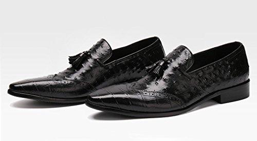 Dilize Men's Stylish Wingtip Slip-on Tassel Oxfords Loafer Shoes Black dGWiCg