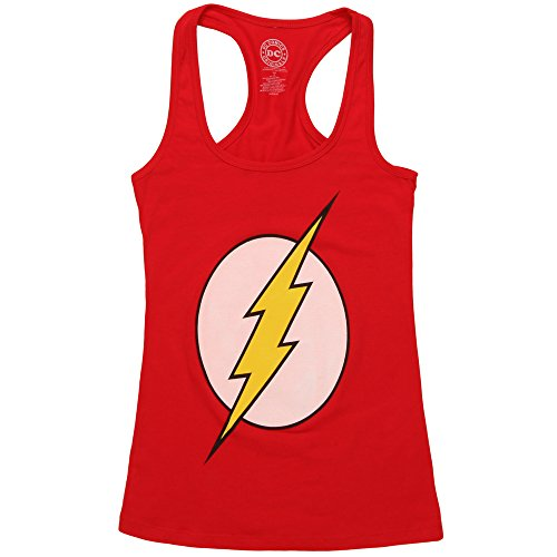 (The Flash Logo Juniors Racerback Tank Top - Red (Large))