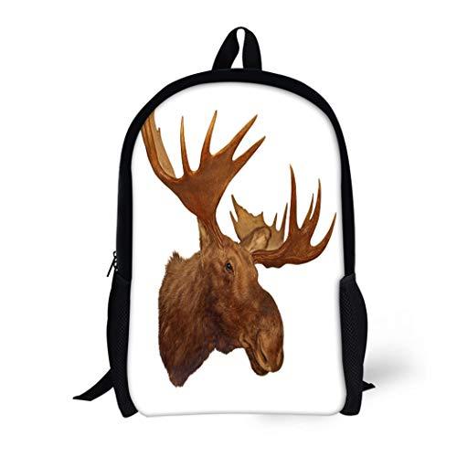 Pinbeam Backpack Travel Daypack Taxidermy Moose Head Antler White Animal Trophy Big Waterproof School Bag