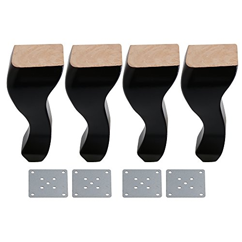 BQLZR 20cm Height Black Rubber Wood Queen Anne Style Wooden Sofa Legs Table Chair Feet for Home Furniture Legs Pack of 4