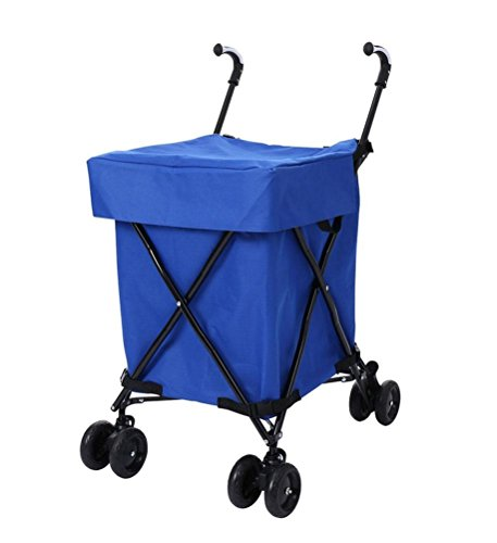 Shopping Trolley Luggage Bag With Wheels (Blue) - 5
