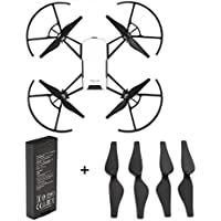 Rucan For DJI Tello Quadcopter Drone Intelligent Flight Battery 1100 mAh 3.8V (1PC Battery +4PC Propellers(BK))