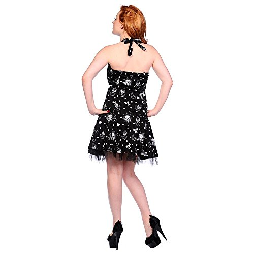 Banned Rockabilly Mini Kleid Old School Tattoo - Anchors Away Neckholder Anker, Totenkopf, Steuerrad