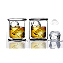 Sun's Tea Strong Double Wall Manhattan Style Old-fashioned Whiskey Glasses/Classic Scotch Whiskey Glasses/Vodka Rocks Glasses/Lowball Glasses for Liquor (9 Ounce/265 ml, Set of 2)