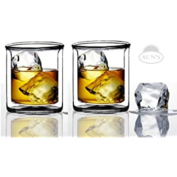 Sun's Tea Strong Double Wall Manhattan Style Old-fashioned Whiskey Glasses / Classic Scotch Whiskey Glasses / Vodka Rocks Glasses /Lowball Glasses for Liquor (9 Ounce , Set of 2)
