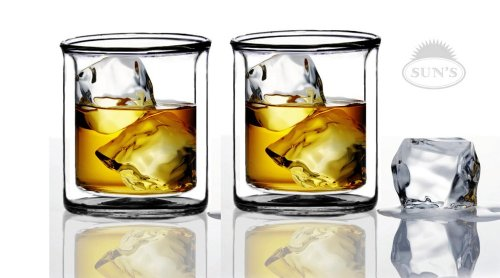 Sun's Tea (TM) 9 oz Strong Double Wall Manhattan Style old-fashioned Vodka/Scotch/Whiskey Glasses, Set of 2