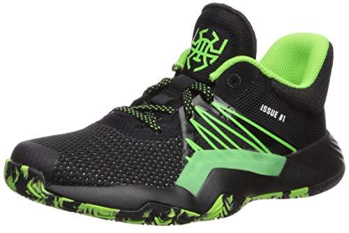 adidas Boy's D.O.N. Issue #1 Basketball Shoe, Black/Team Solar Green/Silver Metallic, 5 Medium US Big Kid