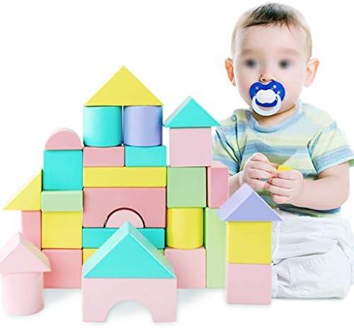 32ピース木造城のブロックを設定し、子供の建設木製玩具3-6歳の男の子か女の子のために - 教育玩具 (色 : Multi-colored)