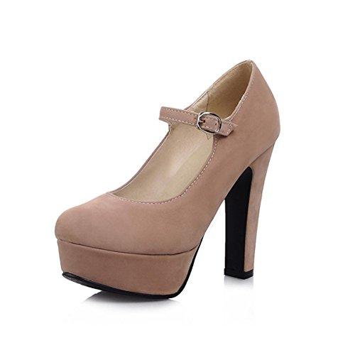 Tacchi Donna Casual Mandorla Scarpe di Nero Vello Punta Comfort Tacco Molla Abbigliamento DIMAOL Caduta Tonda Mandorla Alto per qYC55