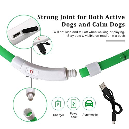 LED Dog Collar Light USB Rechargeable, Silicone Flashing Dog Collar Lights With Clip On Pendant For The Dark, Adjustable Cut To Size, For Small Medium Large Dogs, Green