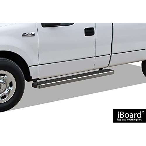 Wholesale APS iBoard Running Boards (Nerf Bars | Side Steps | Step Bars) for 2004-2008 Ford F150 Regular Cab Pickup 2-Door (Excl. 04 Heritage) | (Silver 5 inches) for sale