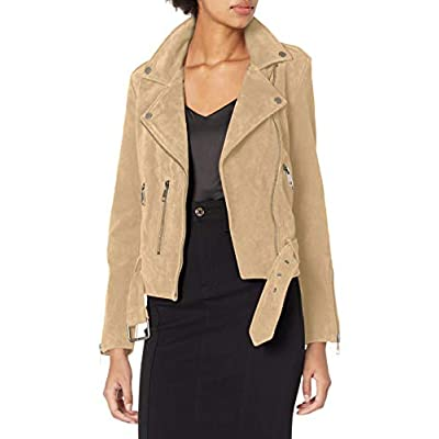 Bagatelle Women's Suede Belted Biker Jacket at Women's Coats Shop