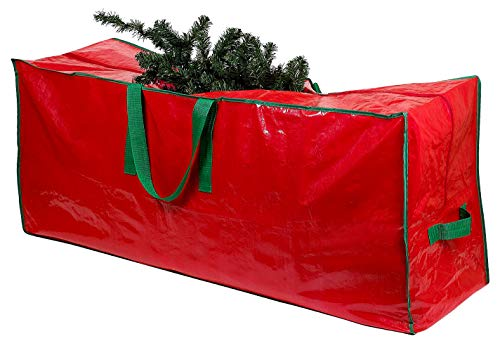 Christmas Holiday Christmas Tree - Christmas Tree Storage Bag - Stores a 9-Foot Disassembled Artificial Xmas Holiday Tree. Durable Waterproof Material to Protect Against Dust, Insects, and Moisture. Zippered Bag with Carry Handles.