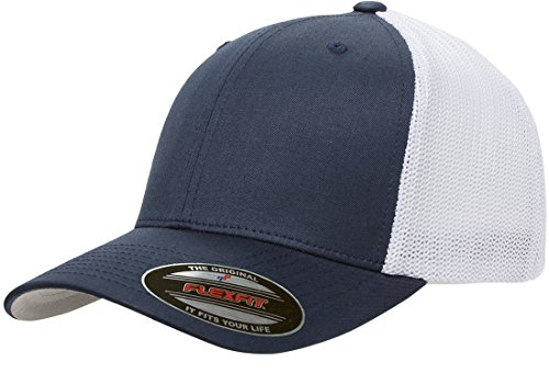 Flexfit Men's Two-Tone Stretch Mesh Fitted Cap, Navy/White, One Size -