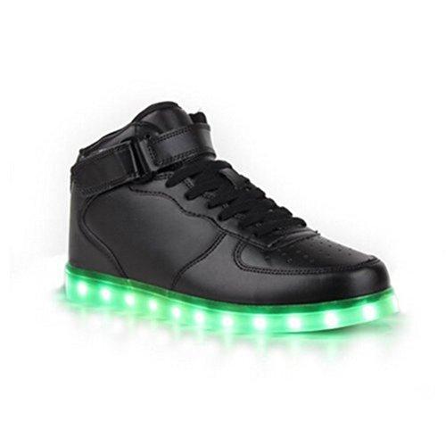 (Present:kleines Handtuch)High Top mit Velcro Rot 40 EU Sportschuhe LED Farbe Leuchtend USB Damen Aufladen Schuhe 7 mode Herren Turnschuhe Unisex-Erwachs ldFu60rE3